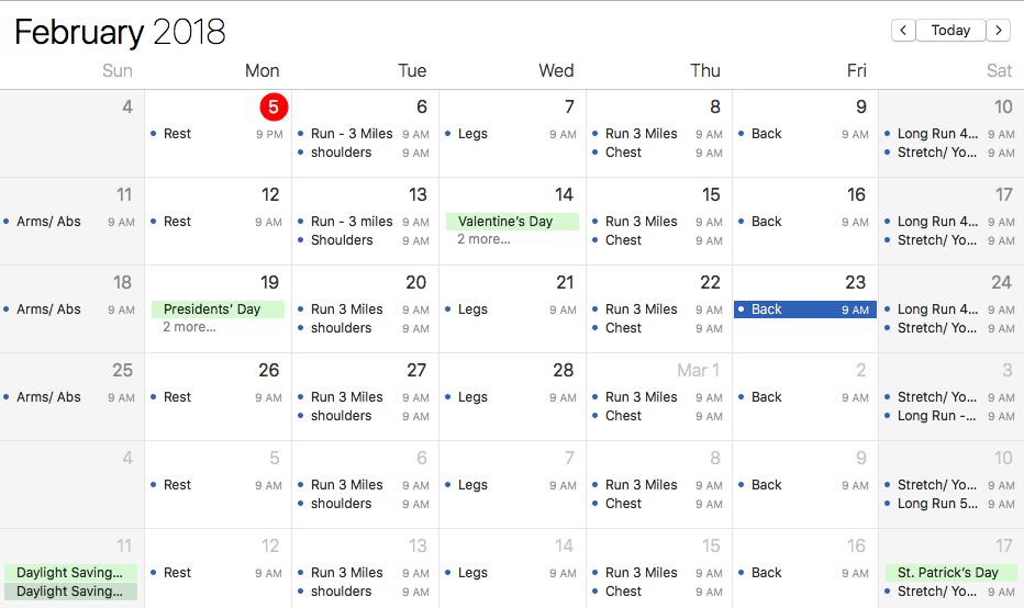 workout schedules
